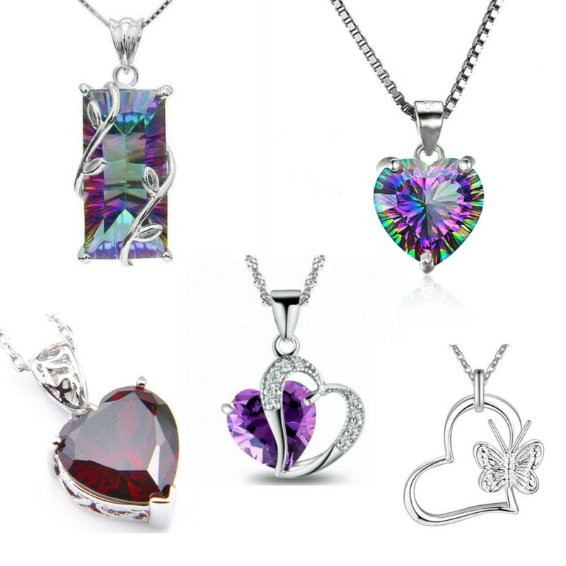 925 Silver Angel Wing Necklace Heart Rhinestone Crystal Chain Pendant Jewelry 3