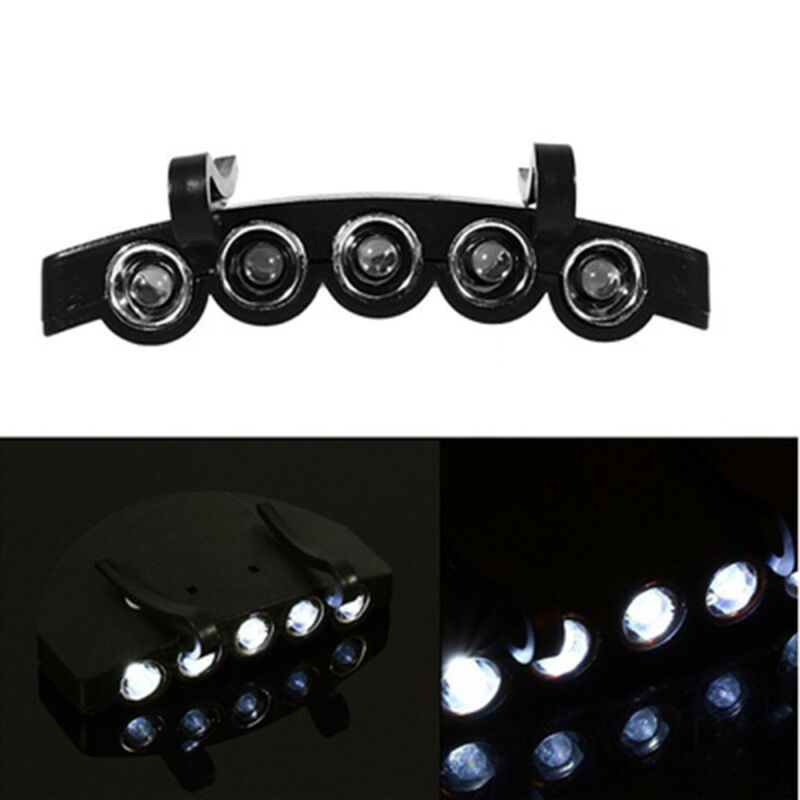 New Outdoor Clip On 5 LED Head Cap Light Head Lamp Torch Fishing Camp Hunting 2