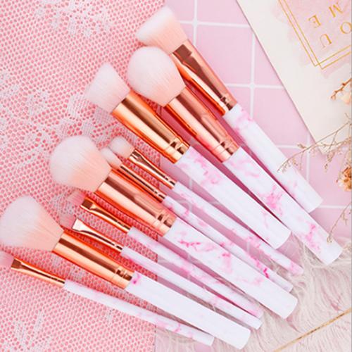 10PCS Pink Grey Marbling Kabuki Make up Brush Set Brushes Blusher Face Powder UK 2