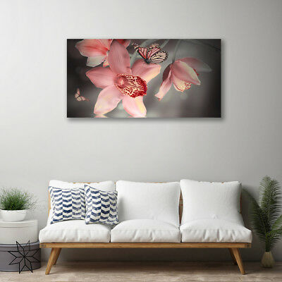 Leinwand-Bilder 100x50 Wandbild Canvas Kunstdruck Blumen Falter Natur