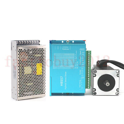 DSP Closed Loop Stepper Drive Motor 2.2NM Nema23 +200W Power Supply +3M Cables 6