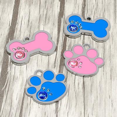 Round Bone Paw Print Custom Personalized Dog Tags Disc Free Engraved Cat ID Tag 11