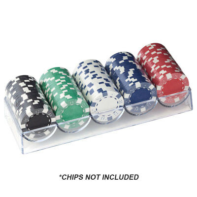 10-Pack of Casino Acrylic Chip Tray with Cover. Poker Chip Rack with Lid by GSE