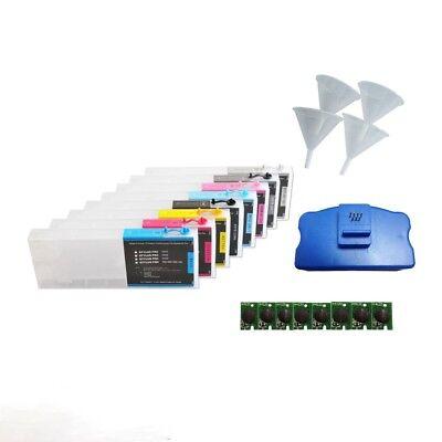 8pcs Epson Stylus Pro 4880 Refilling ink Cartridges + Chip Resetter + Funnel New 9