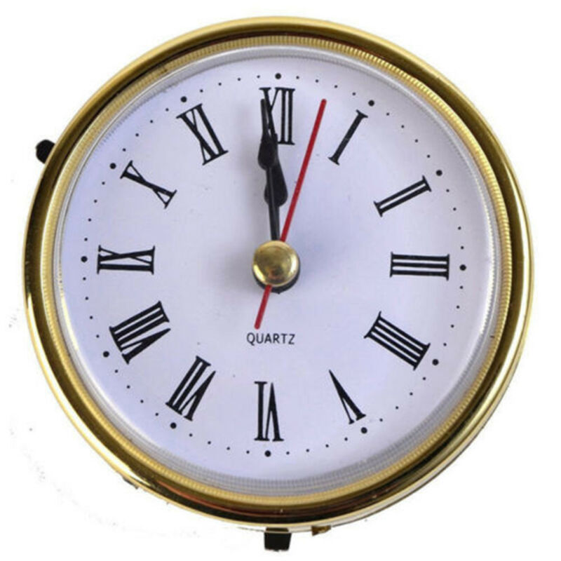 65mm/190mm Clock Quartz  Mechanism Movement Insert Numeral White Face Gold Trim 10