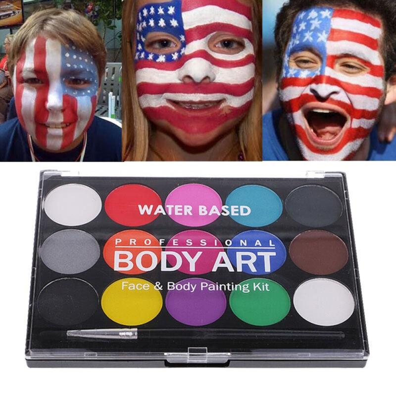 Face & Body Paint Set 15 Colours Palettes Pallete Face Painting Art Make Up Kit 2