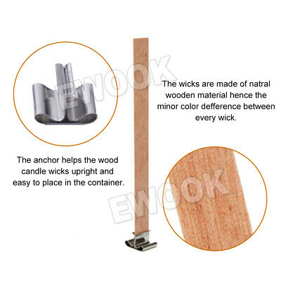50X Wooden Candle Wicks Core Supplies With Sustainer DIY Soap Making for Party 5