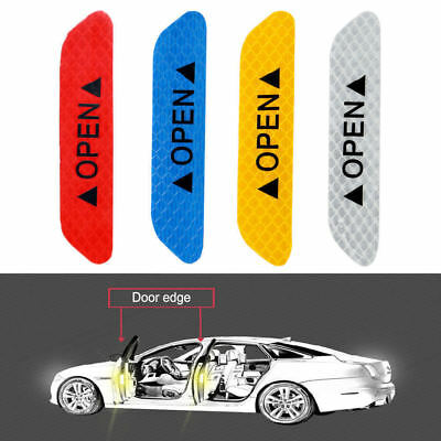 Red 4PCS Super Car Door Open Sticker Reflective Tape Safety Warning Decal 2