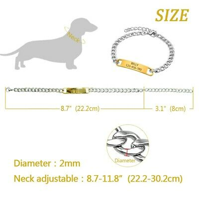 Gold Personalized Dog Collar Extra/Small Dog Engraved ID Name Tag Black Necklace 2