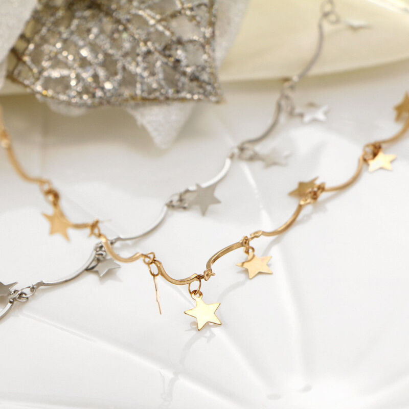7272e11e08132 CUTE SIMPLE CHOKER Necklace Tiny Star Chain Gold Silver Women Jewelry Xmas  Gift