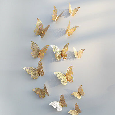 12 Pcs 3D Hollow Wall Stickers Butterfly Fridge For Home Decoration Stickers 2