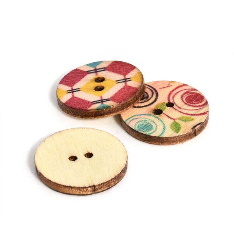 50Pcs/lot Flower Picture Wood Button 2 Holes Mixed Color Apparel Sewing DIY Gift 11