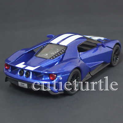 Kinsmart  Ford Gt Cast Toy Car Blue With White Stripes