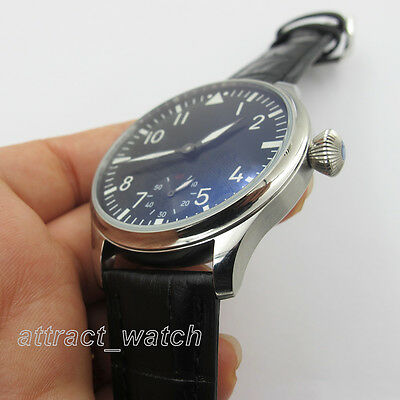 44mm Parnis Wristwatch 6498 Hand Winding Movement Black Dial Men's Watch