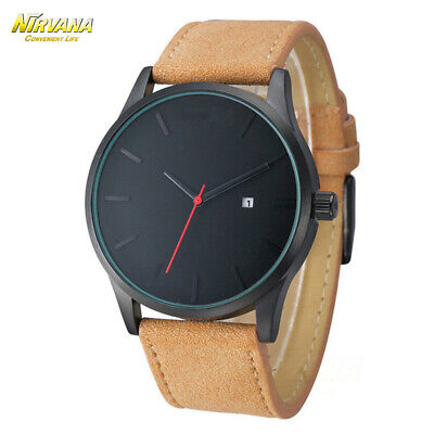 Men's Fashion Sport Stainless Steel Case Leather Band Quartz Analog Casual Watch 7