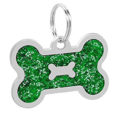 Glitter Bone Shape Personalized Dog Tags Engraved Pet ID Name Collar Tag Charm 4