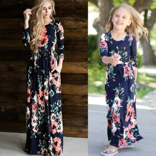 Family Clothes Mother Daughter Dresses Womens Girls Floral Long Maxi Dress 7