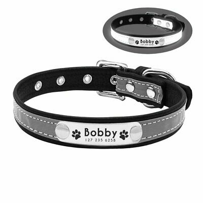Leather Personalized Dog Collar Pet Cat Custom Name Tags Adjustable Reflective 5