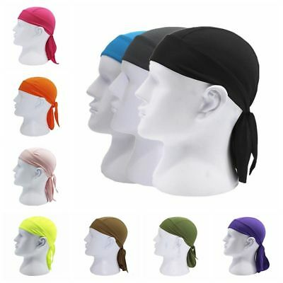 Unique Fitted Solid Tied BACK BANDANA DOO RAG Do Du Motorbake Skull Cap HOT