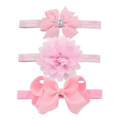 3pcs/Set Baby Girl Headband Ribbon Elastic Headdress Kids Hair Band Newborn Bow 11