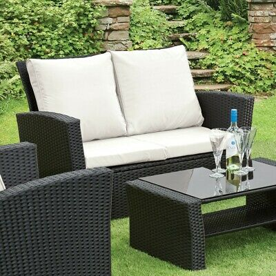 GSD Rattan Garden Furniture 4 Piece Patio Set Table Chairs Grey Black or Brown 10