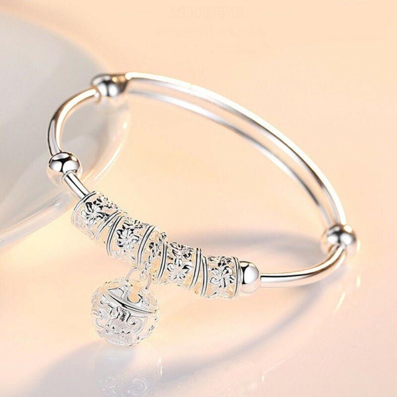 Fashion Women Jewelry 925 Sterling Silver Plated Cuff Bracelet Charm Bangle Gift 2