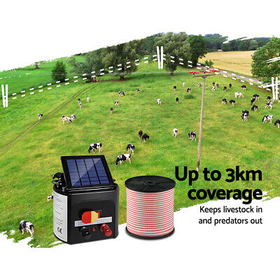 New 3km Solar Power Electric Fence Charger Kit Farm Fencing Tape Insulator Sign 5