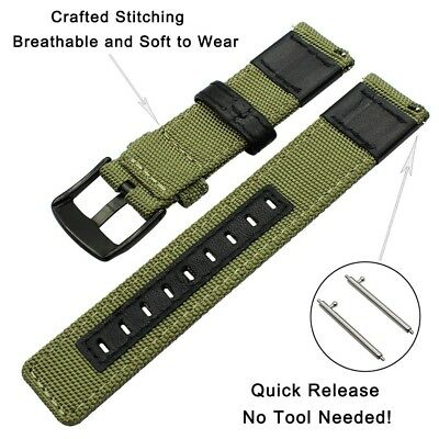 20mm 22mm Nylon Fabric Sport Watch Band Replacement Quick Release Wrist Strap 4