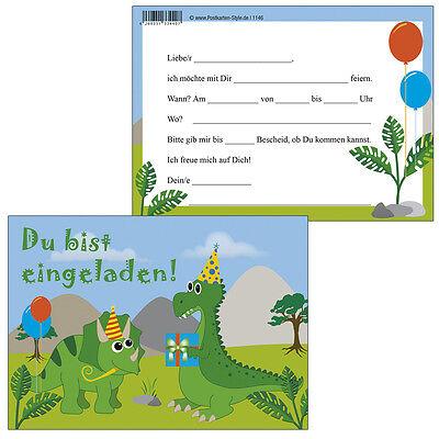 2 Von 3 10 Postkarten Einladungskarte Kindergeburtstag Dino Party Dinosaurier  Einladung
