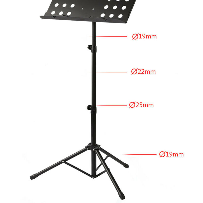 Heavy Duty Orchestral Sheet Music Conductor Stand Holder Tripod Base Foldable 6