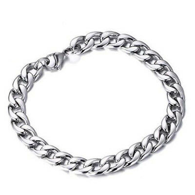 Silver Men's Stainless Steel Link Punk Chain Bracelet Wristband Bangle Jewelry 2