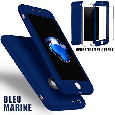 Coque Housse Total 360 Iphone 6 6S 7 8 5 Xr Xs Max Protection Vitre Verre Trempe 3