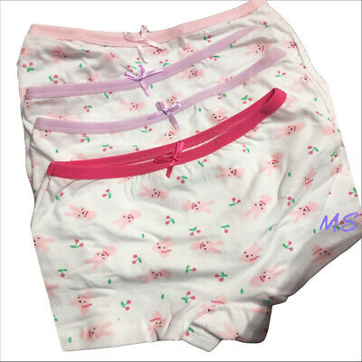 Girls 4 pack COTTON pants briefs knickers boxers shorts Age 2 4 5 6 7 8 9 10 yrs 3