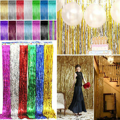 2M-3M Foil Fringe Tinsel Shimmer Curtain Door Wedding Birthday Party DECORATIONS 5