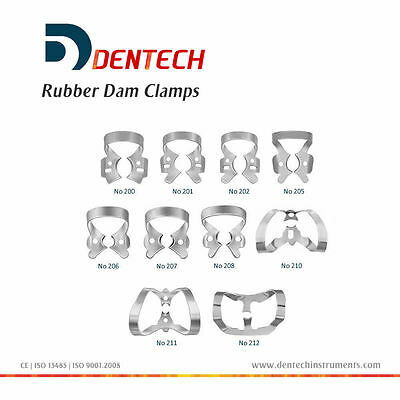 Dental Restorative Set Of 10 Rubber Dam Clamps German Steel Ce New Colliers 3
