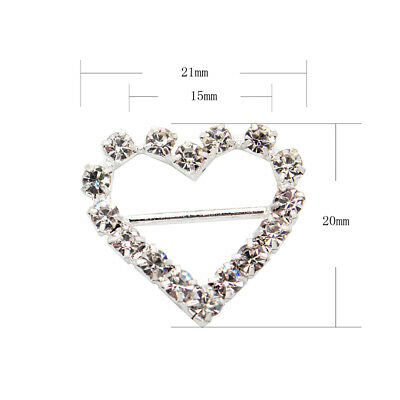 10 Circle, Heart, Or Square Diamante Rhinestone Crystal Buckle Ribbon Sliders 9