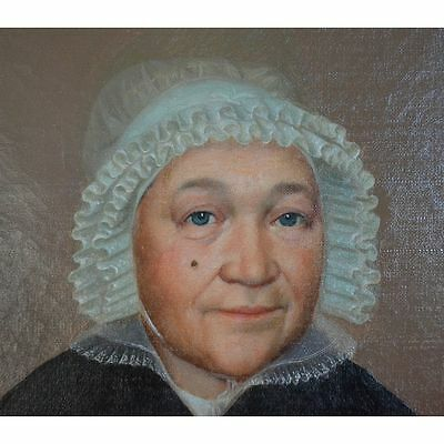 Antique 19th century English Oil On Canvas Portrait of a Lady with Lace Bonnet