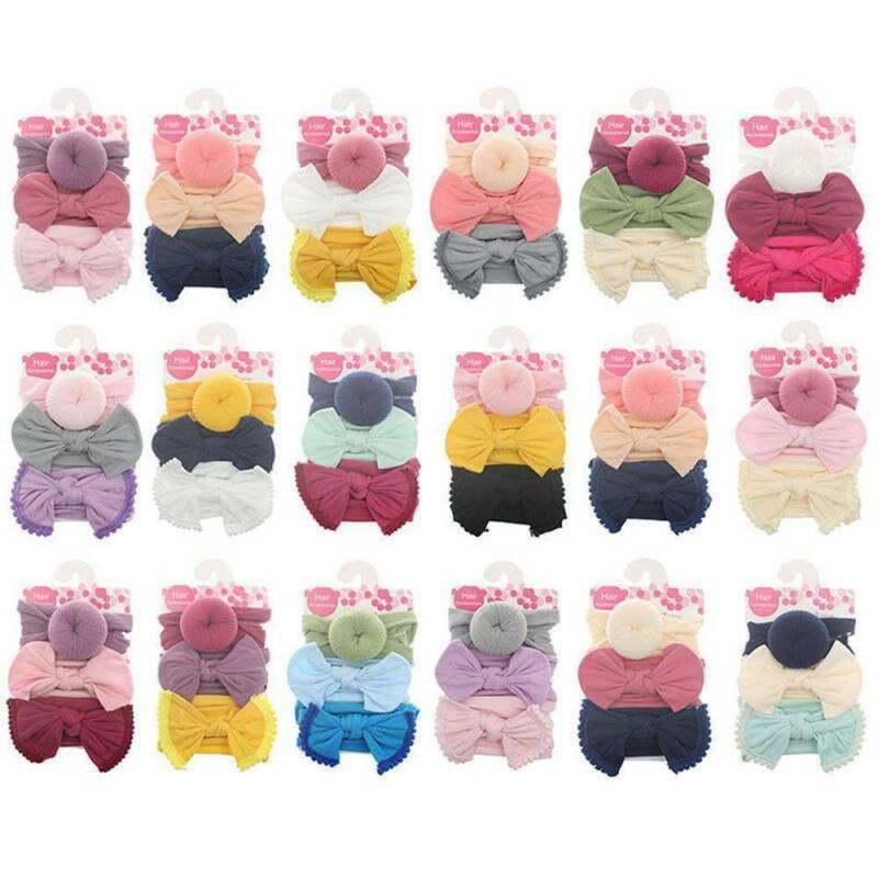 3Pc Kids Baby Girls Toddler Bow Hair band Headband Stretch Turban Knot Head Wrap 4