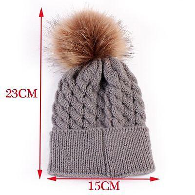 Newborn Girls Boys Kids Beanie Baby Knitted Hat Pom Pom Ball Wool Fur 6