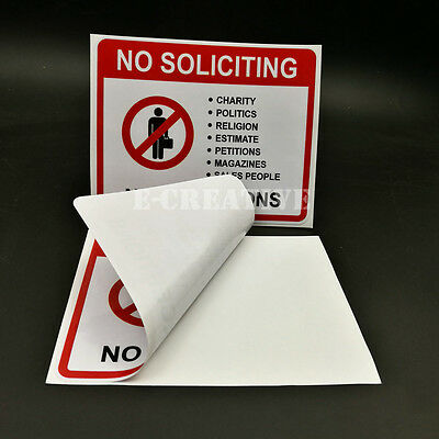 2 No Soliciting Vinyl Decal   Sticker   Window Label Solicitors Sign Trespassing 2