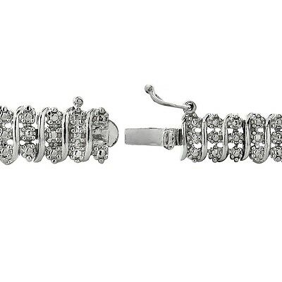 1.00ct TDW Natural Diamond S Link Tennis Bracelet in Gold or Silver Plated Brass 3