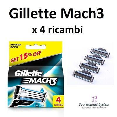 4 Testine Gillette Mach 3 Originali -- Lamette Ricambio Rasoio Ricariche Blister 2