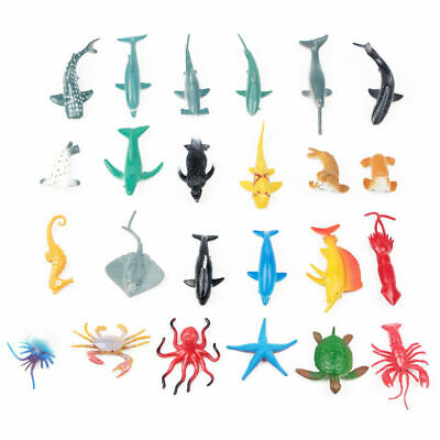 24X Plastic Ocean Animals Figure Sea Creatures Dolphin Turtle Whale Model Toys 12