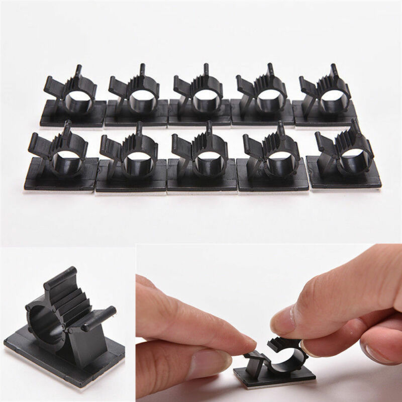 10pcs Hot Wire Cord Holder Clips Black Adhesive Cable Management Organizer Clamp 2