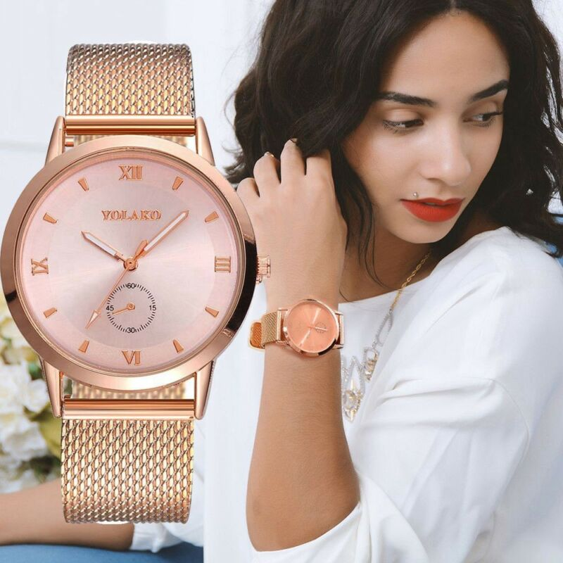 UK Women Ladies Rose Gold Silver Plated Stainless Steel Geneva Wrist Watch 2