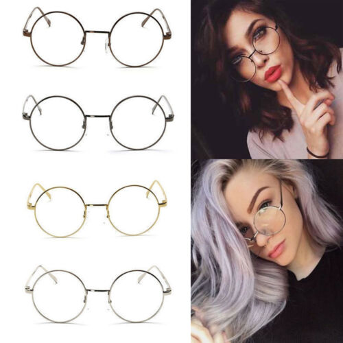 d774f22ea5e5 Women Men Large Oversized Metal Frame Clear Lens Round Circle Eye Glasses  Nerd 6 6 of 10 ...