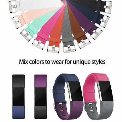 Replacement Watch Strap Band Metal Buckle Wristband Silicone For FitBit Charge 2 10
