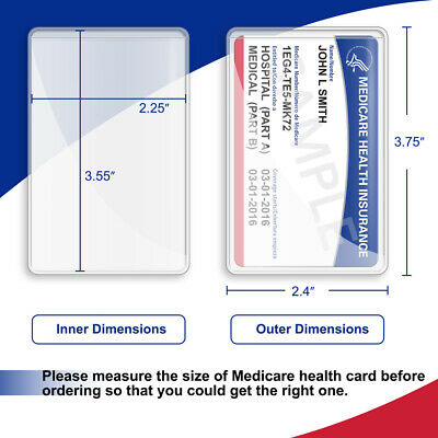 New Medicare Card Holder Clear Soft Waterproof Credit Business Protector Sleeves 6