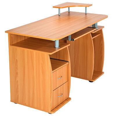 Computertisch pc tisch arbeitstisch mit schubladen for Pc schreibtisch buche
