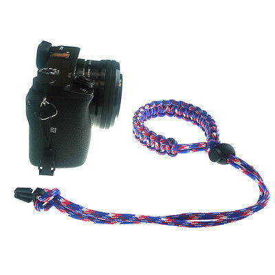Red/Blue/White Quick Release Braided 550 Paracord Adjustable Camera Wrist Strap 5